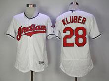 Mens Mlb Cleveland Indians #28 Corey Kluber White Flex Base Jersey