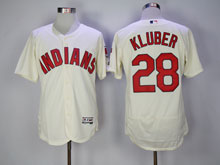Mens Mlb Cleveland Indians #28 Corey Kluber Cream Flex Base Jersey