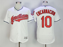 Mens Mlb Cleveland Indians #10 Encarnacion White Flex Base Jersey