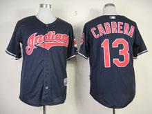 Mens Mlb Cleveland Indians #13 Omar Vizquel Dark Blue Cool Base Jersey