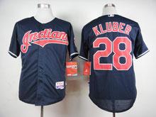 Mens Mlb Cleveland Indians #28 Corey Kluber Dark Blue Cool Base Jersey