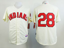 Mens Mlb Cleveland Indians #28 Corey Kluber Cream Jersey ( No Name )