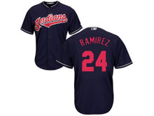 Mens Mlb Cleveland Indians #24 Manny Ramirez Dark Blue Cool Base Jersey