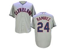 Mens Mlb Cleveland Indians #24 Manny Ramirez Gray Cool Base Jersey