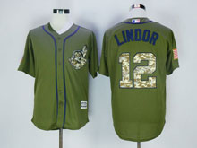 Mens Majestic Cleveland Indians #12 Francisco Lindor Army Green Salute To Service Jersey