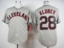 Mens Mlb Cleveland Indians #28 Corey Kluber Gray Cool Base Jersey