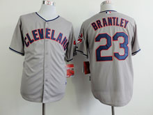 Mens Mlb Cleveland Indians #23 Michael Brantley Gray Cool Base Jersey
