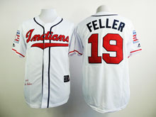 Mens Mlb Cleveland Indians #19 Bob Feller White 1948 Mitchell & Ness Jersey With Hall Of Fame Patch
