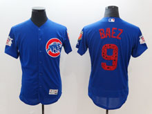 Mens Mlb Chicago Cubs #9 Javier Baez Blue 2018 Spring Training Flex Base Player Jersey