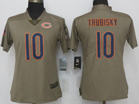 Women Nfl Chicago Bears #10 Mitchell Trubisky Green Olive Salute To Service Elite Nike Jersey
