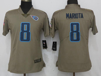 Women Nfl Tennessee Titans #8 Marcus Mariota Green Olive Salute To Service Elite Nike Jersey
