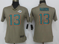 Women Nfl Miami Dolphins #13 Dan Marino Green Olive Salute To Service Elite Nike Jersey