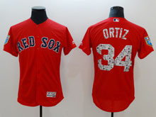 Mens Majestic Boston Red Sox #34 David Ortiz Red 2018 Spring Training Flex Base Jersey