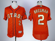 Mens Mlb Houston Astros #2 Alex Bregman Orange ( Gold Number&name) 2018 Champion Flex Base Jersey