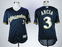 Mens Mlb Milwaukee Brewers #3 Orlando Arcia Blue Flex Base Baseball Jersey