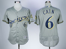 Mens Majestic Mlb Milwaukee Brewers #6 Cain Gray Flex Base Jersey