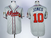 Mens Mlb Atlanta Braves #10 Chipper Jones Gray Throwbacks Cool Base Jersey