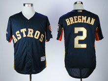 Mens Mlb Houston Astros #2 Alex Bregman Dark Blue ( Gold Number&name) 2018 Champion Cool Base Jersey