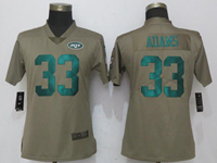 Women Nfl New York Jet #33 Jamal Adams Green Olive Salute To Service Elite Nike Jersey