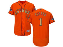 Mens Mlb Houston Astros #1 Carlos Correa Orange 2018 Gold Program Flex Base Player Jersey
