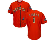 Mens Mlb Houston Astros #1 Carlos Correa Orange 2018 Gold Program Cool Base Player Jersey