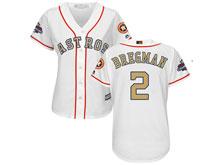 Women Mlb Houston Astros #2 Alex Bregman White 2018 Gold Program Cool Base Player Jersey