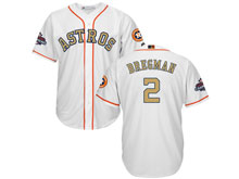 Mens Mlb Houston Astros #2 Alex Bregman White 2018 Gold Program Cool Base Player Jersey