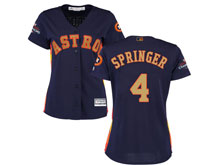 Women Mlb Houston Astros #4 George Springer Navy 2018 Gold Program Cool Base Player Jersey