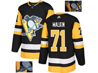 Mens Adidas Nhl Pittsburgh Penguins #71 Evgeni Malkin Black Fashion Gold Lace Embroidery Jersey