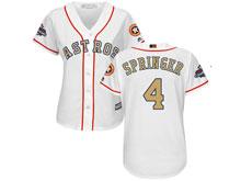 Women Mlb Houston Astros #4 George Springer White 2018 Gold Program Cool Base Player Jersey
