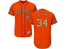 Mens Mlb Houston Astros #34 Nolan Ryan Orange 2018 Gold Program Flex Base Player Jersey