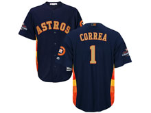 Mens Mlb Houston Astros #1 Carlos Correa Navy 2018 Gold Program Cool Base Player Jersey