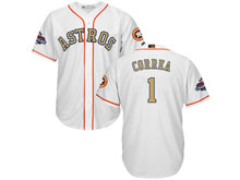 Mens Mlb Houston Astros #1 Carlos Correa White 2018 Gold Program Cool Base Player Jersey