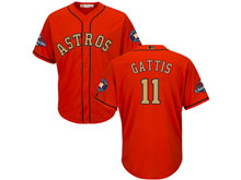 Mens Mlb Houston Astros #11 Evan Gattis Orange 2018 Gold Program Cool Base Player Jersey