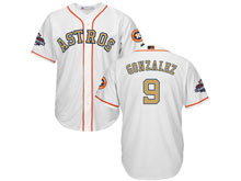 Mens Mlb Houston Astros #9 Marwin Gonzalez White 2018 Gold Program Cool Base Player Jersey