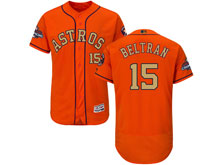 Mens Mlb Houston Astros #15 Carlos Beltran Orange 2018 Gold Program Flex Base Player Jersey