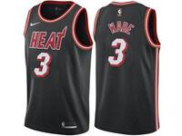 Mens 2017-18 Season Nba Miami Heat #3 Dwyane Wade Black Throwback Nike Swingman Jersey