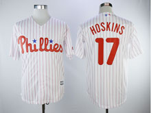 Mens Majestic Philadelphia Phillies #17 Rhys Hoskins White Stripe Cool Base Player Jersey