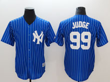 Mens Mlb New York Yankees #99 Aaron Judge Light Blue ( White Stripe) Cool Base Jersey