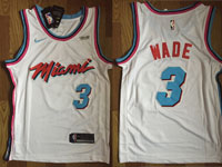 Mens Nba Miami Heat #3 Dwyane Wade White Nike Vice Uniform City Edition Swingman Jersey