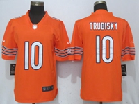New Nfl Chicago Bears #10 Mitchell Trubisky Orange 2017 Vapor Untouchable Limited Player Nike Jersey