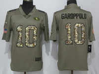Mens Nfl San Francisco 49ers #10 Jimmy Garoppolo Green Olive Camo Carson 2017 Salute To Service Limited Jersey