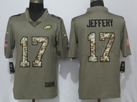 Mens Philadelphia Eagles #17 Alshon Jeffery Green Olive Camo Carson 2017 Salute To Service Limited Jersey