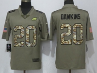 Mens Philadelphia Eagles #20 Brian Dawkins Green Olive Camo Carson 2017 Salute To Service Limited Jersey
