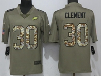 Mens Philadelphia Eagles #30 Corey Clement Green Olive Camo Carson 2017 Salute To Service Limited Jersey