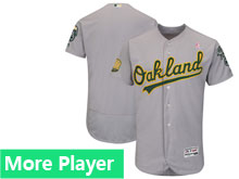 Mens Oakland Athletics Majestic Gray 2018 Mother's Day Home Flex Base Team Jersey