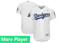 Mens Majestic Los Angeles Dodgers White 2018 Mother's Day Home Flex Base Team Jersey