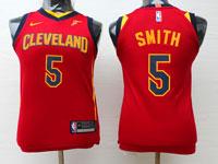 Youth Nba Cleveland Cavaliers #5 Jr Smith Red Swingman Nike Jersey