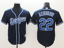 Mens Majestic Los Angeles Dodgers #22 Clayton Kershaw Navy Cool Base Jersey