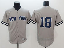 Mens Majestic New York Yankees #18 Didi Gregorius Gray ( No Name ) Flex Base Jersey